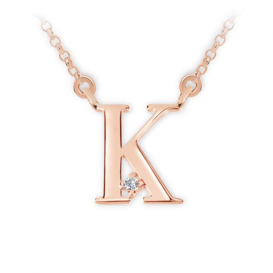 Zlatý dámský přívěsek DF 4516, písmenko K, růžové zlato, s řetízkem a briliantem