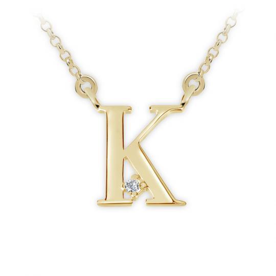 Zlatý dámský přívěsek DF 4516, písmenko K, žluté zlato, s řetízkem a briliantem
