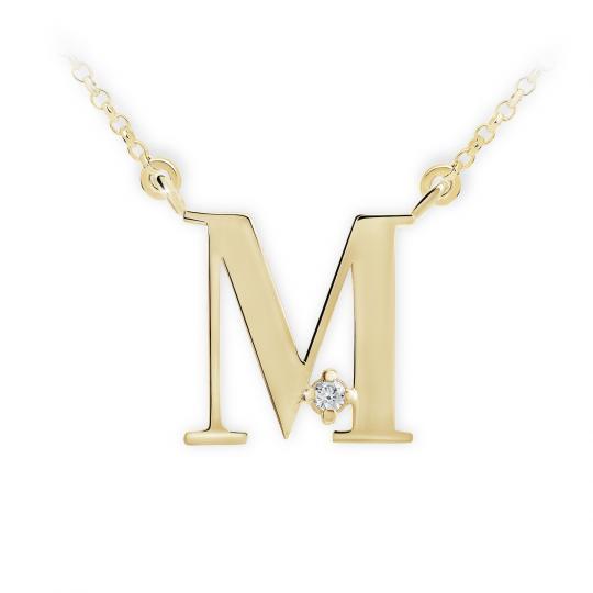 Zlatý dámský přívěsek DF 4518, písmenko M, žluté zlato, s řetízkem a briliantem