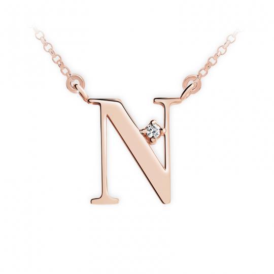 Zlatý dámský přívěsek DF 4519, písmeno N, růžové zlato, s řetízkem a briliantem