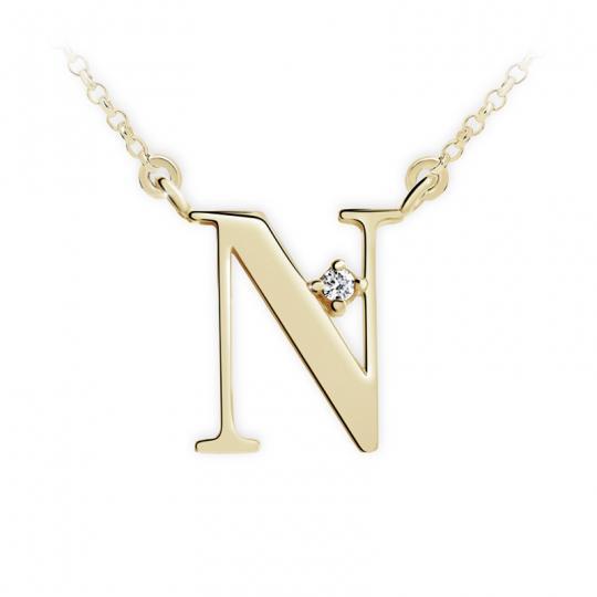 Zlatý dámský přívěsek DF 4519, písmeno N, žluté zlato, s řetízkem a briliantem
