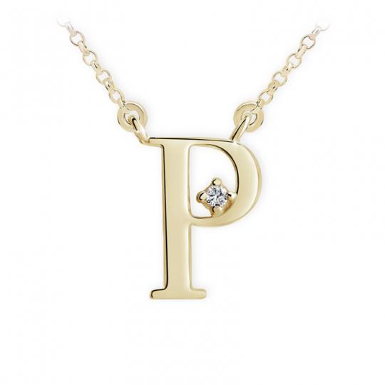 Zlatý dámský přívěsek DF 4521, písmenko P, žluté zlato, s řetízkem a briliantem
