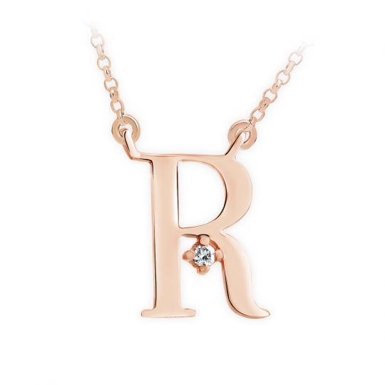 Zlatý dámský přívěsek DF 4523, písmenko R, růžové zlato, s řetízkem a briliantem