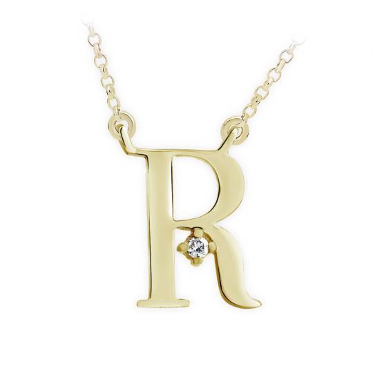 Zlatý dámský přívěsek DF 4523, písmenko R, žluté zlato, s řetízkem a briliantem