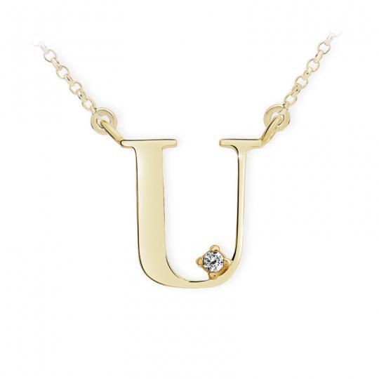 Zlatý dámský přívěsek DF 4526, písmenko U,  žluté zlato, s řetízkem a briliantem