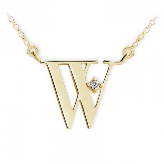 Zlatý dámský přívěsek DF 4528, písmenko W, žluté zlato, s řetízkem a briliantem