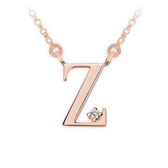 Zlatý dámský přívěsek DF 4531, písmenko Z, růžové zlato, s řetízkem a briliantem