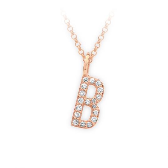 Zlatý dámský přívěsek DF 4735, písmenko B, růžové zlato, s brilianty