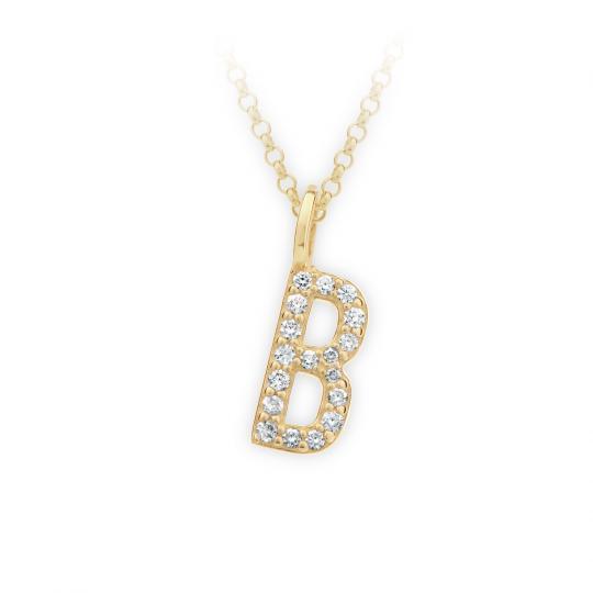 Zlatý dámský přívěsek DF 4735, písmenko B, žluté zlato, s brilianty
