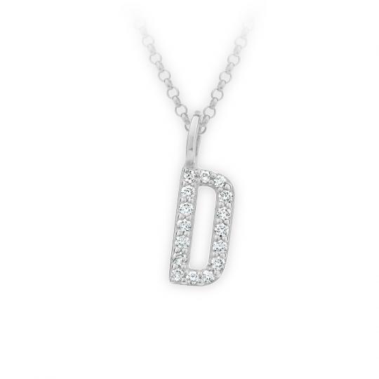 Zlatý dámský přívěsek DF 4737, písmenko D, bílé zlato, s brilianty