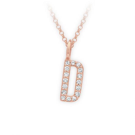 Zlatý dámský přívěsek DF 4737, písmenko D, růžové zlato, s brilianty