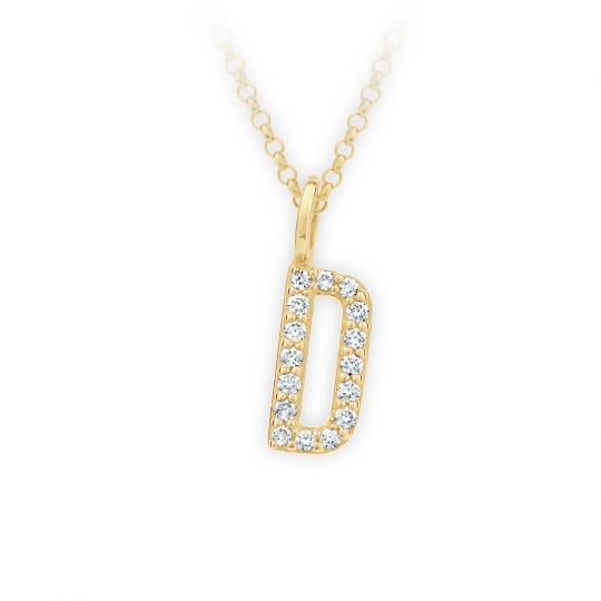 Zlatý dámský přívěsek DF 4737, písmenko D, žluté zlato, s brilianty