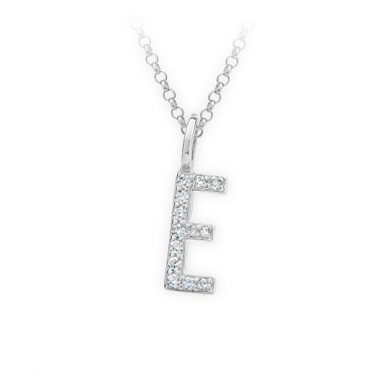 Zlatý dámský přívěsek DF 4738, písmenko E,  bílé zlato, s brilianty
