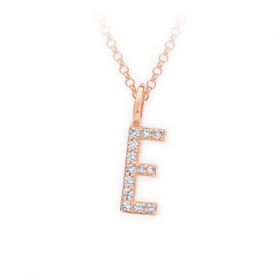 Zlatý dámský přívěsek DF 4738, písmenko E, růžové zlato, s brilianty