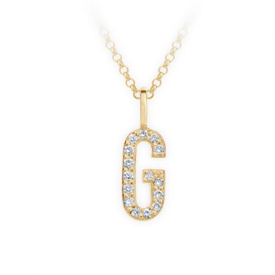 Zlatý dámský přívěsek DF 4740, písmenko G, žluté zlato, s brilianty