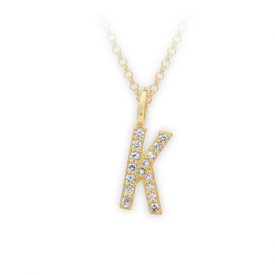 Zlatý dámský přívěsek DF 4744, písmenko K,  žluté zlato, s brilianty