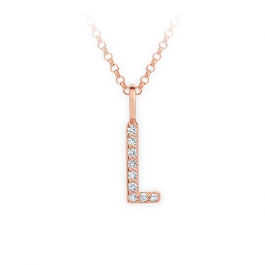 Zlatý dámský přívěsek DF 4745, písmenko L, růžové zlato, s brilianty
