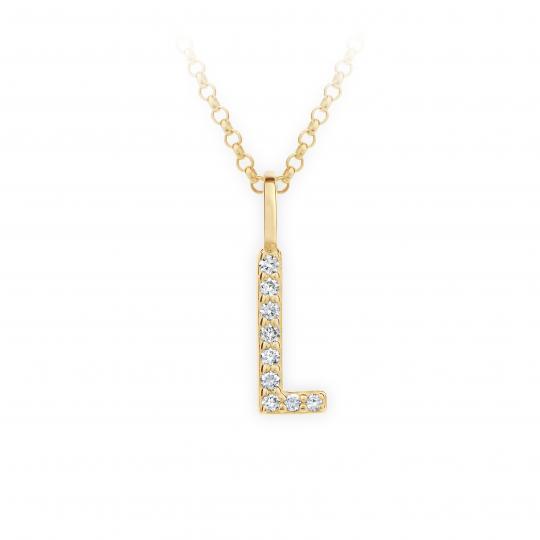Zlatý dámský přívěsek DF 4745, písmenko L, žluté zlato, s brilianty