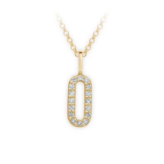 Zlatý dámský přívěsek DF 4748, písmenko O, žluté zlato, s brilianty