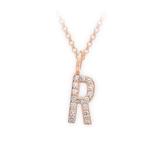 Zlatý dámský přívěsek DF 4751, písmenko R, růžové zlato, s brilianty