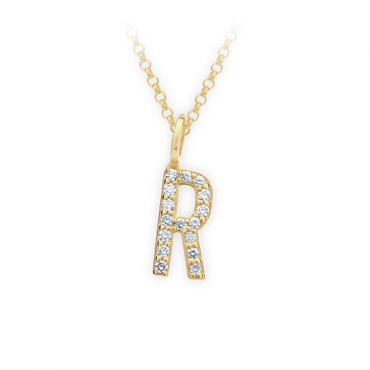 Zlatý dámský přívěsek DF 4751, písmenko R, žluté zlato, s brilianty