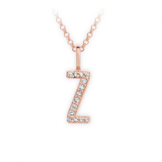 Zlatý dámský přívěsek DF 4759, písmenko Z, růžové zlato, s brilianty