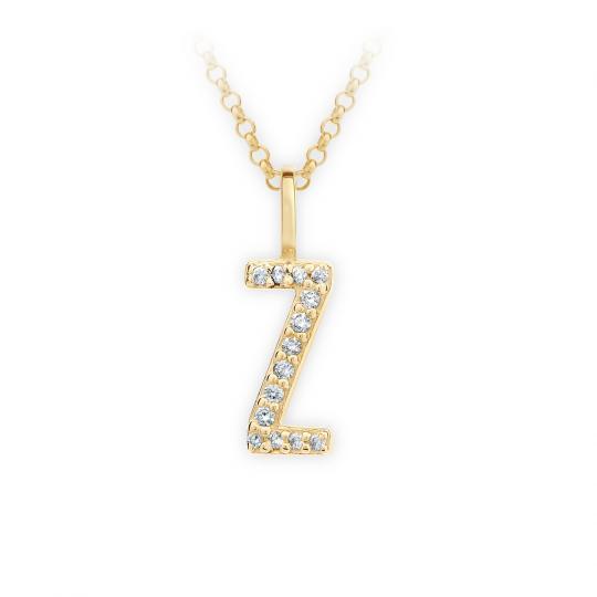 Zlatý dámský přívěsek DF 4759, písmenko Z, žluté zlato, s brilianty