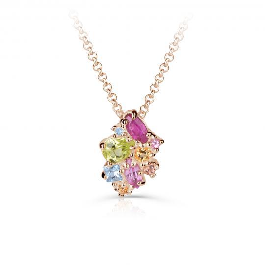 Zlatý dámský přívěsek DF 4947, růžové zlato, barevné kameny