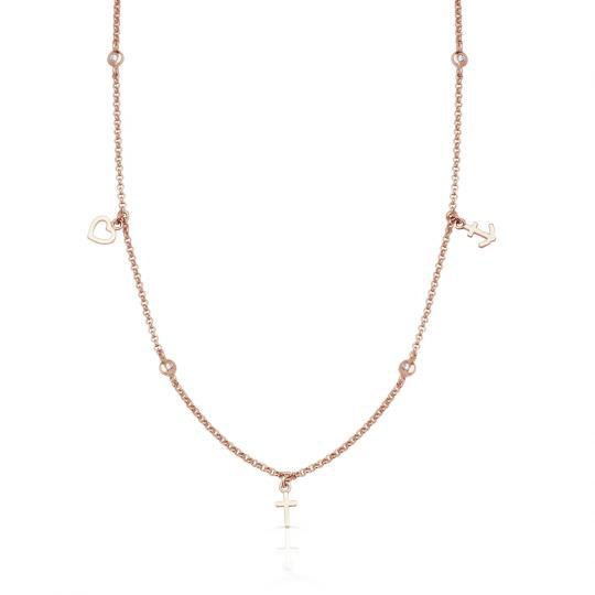 Zlatý dámský přívěsek DF 5155, růžové zlato, s brilianty