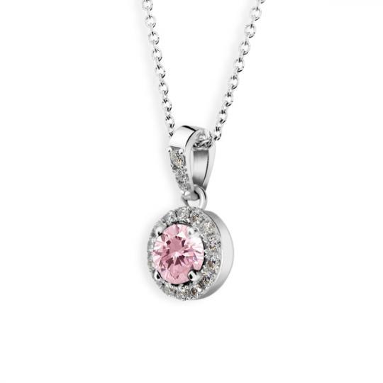 Zlatý dámsky prívesok DF 3099, biele zlato, ružový zafír s diamantmi