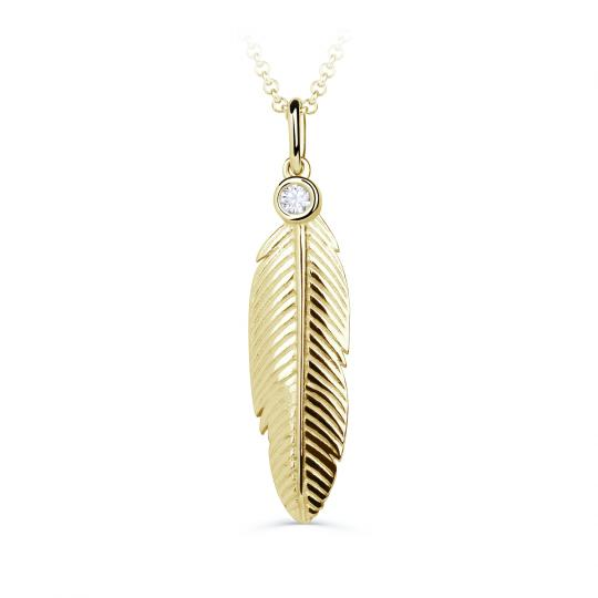 Zlatý dámsky prívesok DF 3842, žlté zlato, s briliantom