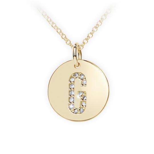 Zlatý dámsky prívesok DF 4486, žlté zlato, s briliantom