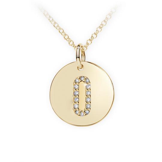 Zlatý dámsky prívesok DF 4494, žlté zlato, s briliantom