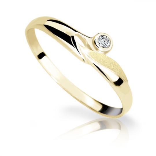 Zlatý dámsky prsteň Danfil DF1231 zo žltého zlata s briliantom
