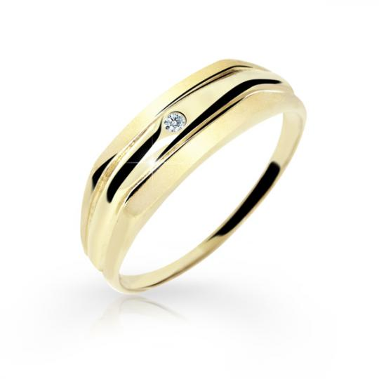 Zlatý dámský prsten DF 1185 ze žlutého zlata, s briliantem