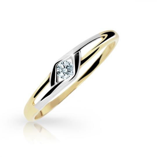 Zlatý dámský prsten DF 1633 ze žlutého zlata, s briliantem