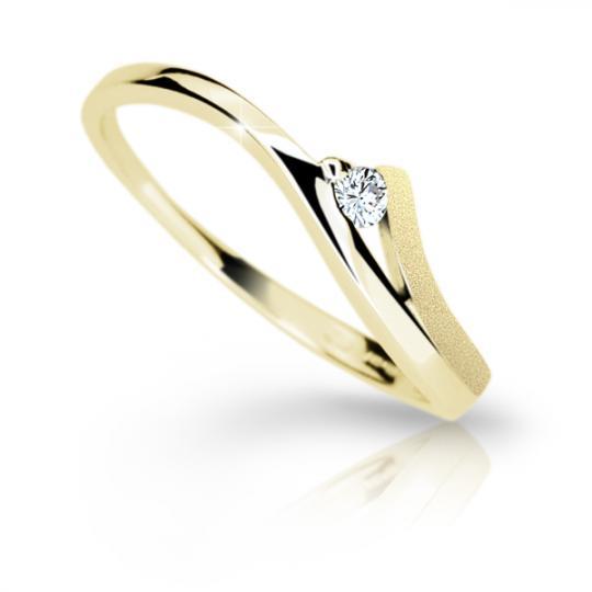 Zlatý dámský prsten DF 1718 ze žlutého zlata, s briliantem