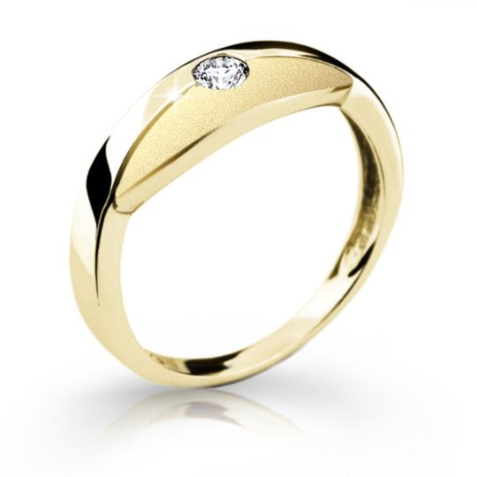 Zlatý dámský prsten DF 1720 ze žlutého zlata, s briliantem