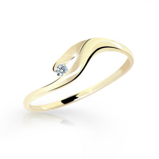 Zlatý dámský prsten DF 1749 ze žlutého zlata, s briliantem