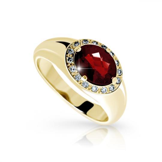 Zlatý dámský prsten DF 1892 ze žlutého zlata, almandin s diamanty