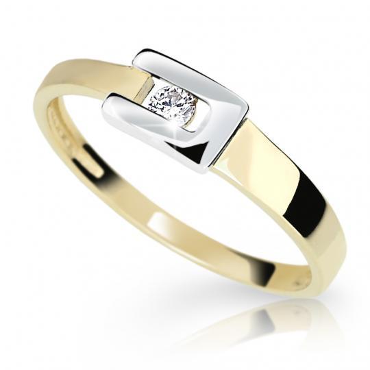 Zlatý dámsky prsteň DF 2039 zo žltého zlata, s briliantom