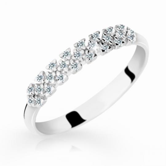 Zlatý dámský prsten DF 2059 z bílého zlata, s briliantem