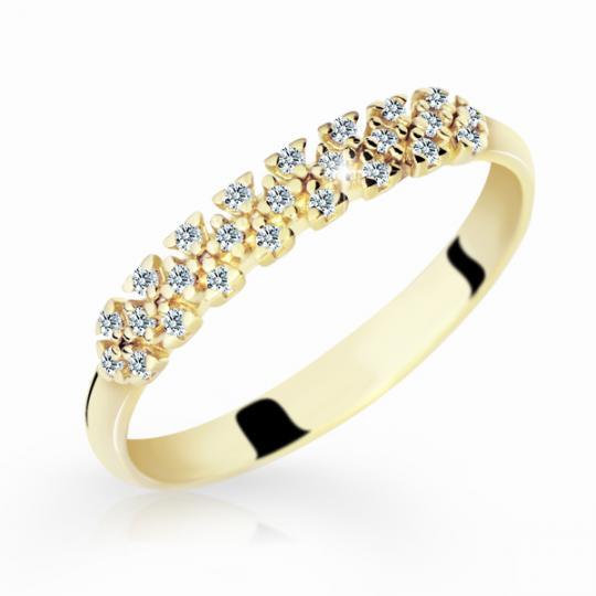 Zlatý dámský prsten DF 2059 ze žlutého zlata, s briliantem