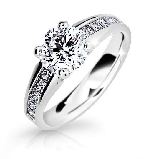 Zlatý dámský prsten DF 2088 z bílého zlata, s diamantem