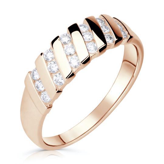 Zlatý dámský prsten DF 2098 z růžového zlata, s brilianty