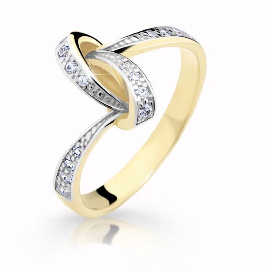 Zlatý dámský prsten DF 2324 ze žlutého zlata, s briliantem