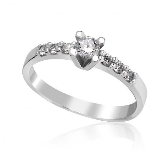 Zlatý dámský prsten DF 2617 z bílého zlata, s briliantem