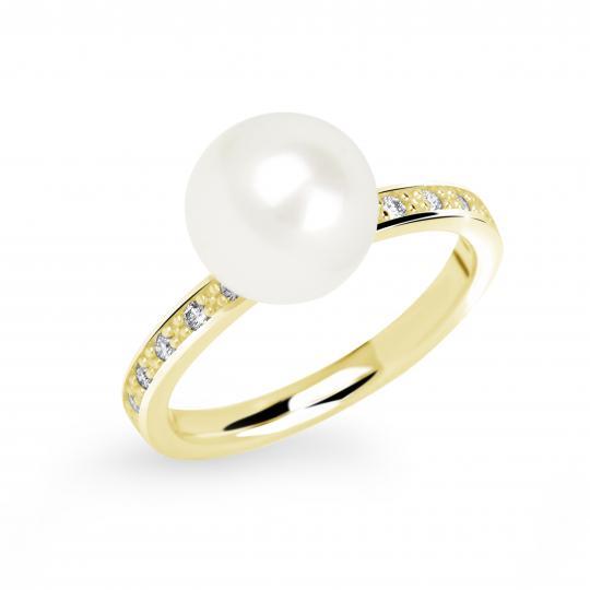 Zlatý dámský prsten DF 2659 ze žlutého zlata, sladkovodní perla s diamanty