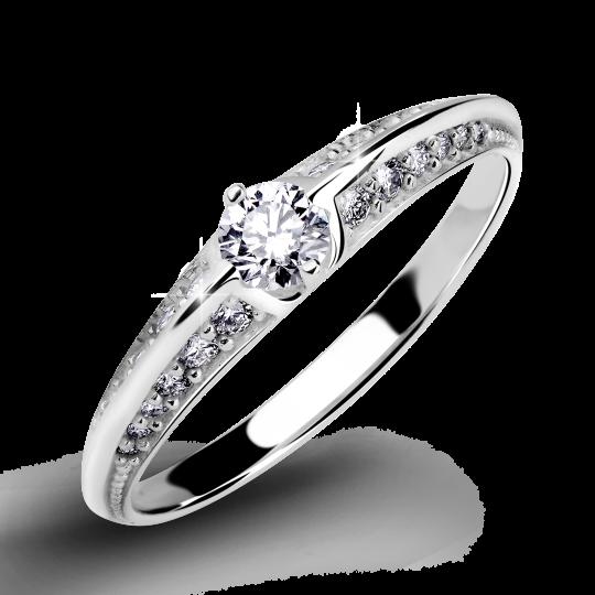 Zlatý dámský prsten DF 2799 z bílého zlata, s briliantem