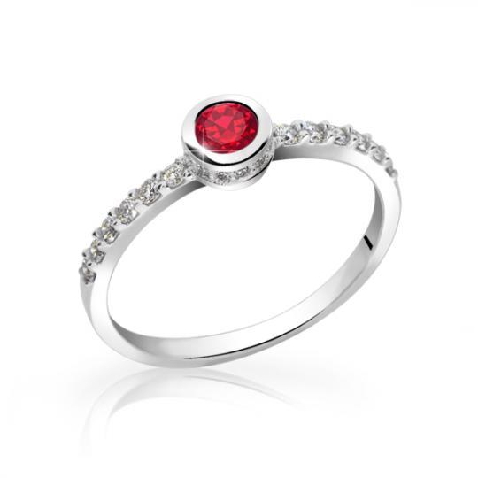 Zlatý dámsky prsteň DF 2803 z bieleho zlata, rubín s diamantmi
